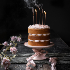 Pink Cake and Candles